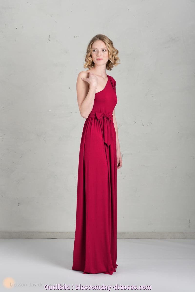 Besondere Rotes Kleid Lang Langes Brautjungfernkleid 👗 In Himbeere (One-Shoulder)