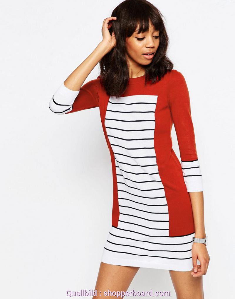 Bezaubernd Asos Kleid Orange ASOS Knit Dress In Stripe With Blocking - ShopperBoard