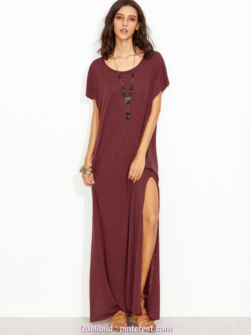 Bezaubernd T Shirt Kleid Schlitz Burgundy Side Slit Loose Fit Maxi Tee Dress | MakeMeChic.COM | Top