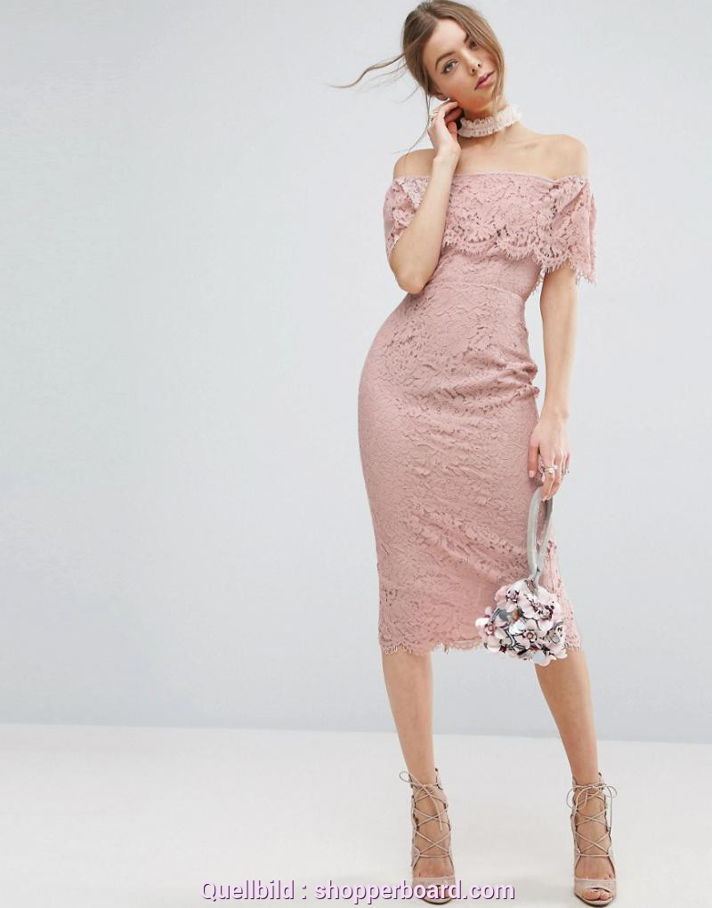 Einzigartig Asos Kleid Rosa ASOS Lace Bardot Pencil Midi Dress - ShopperBoard