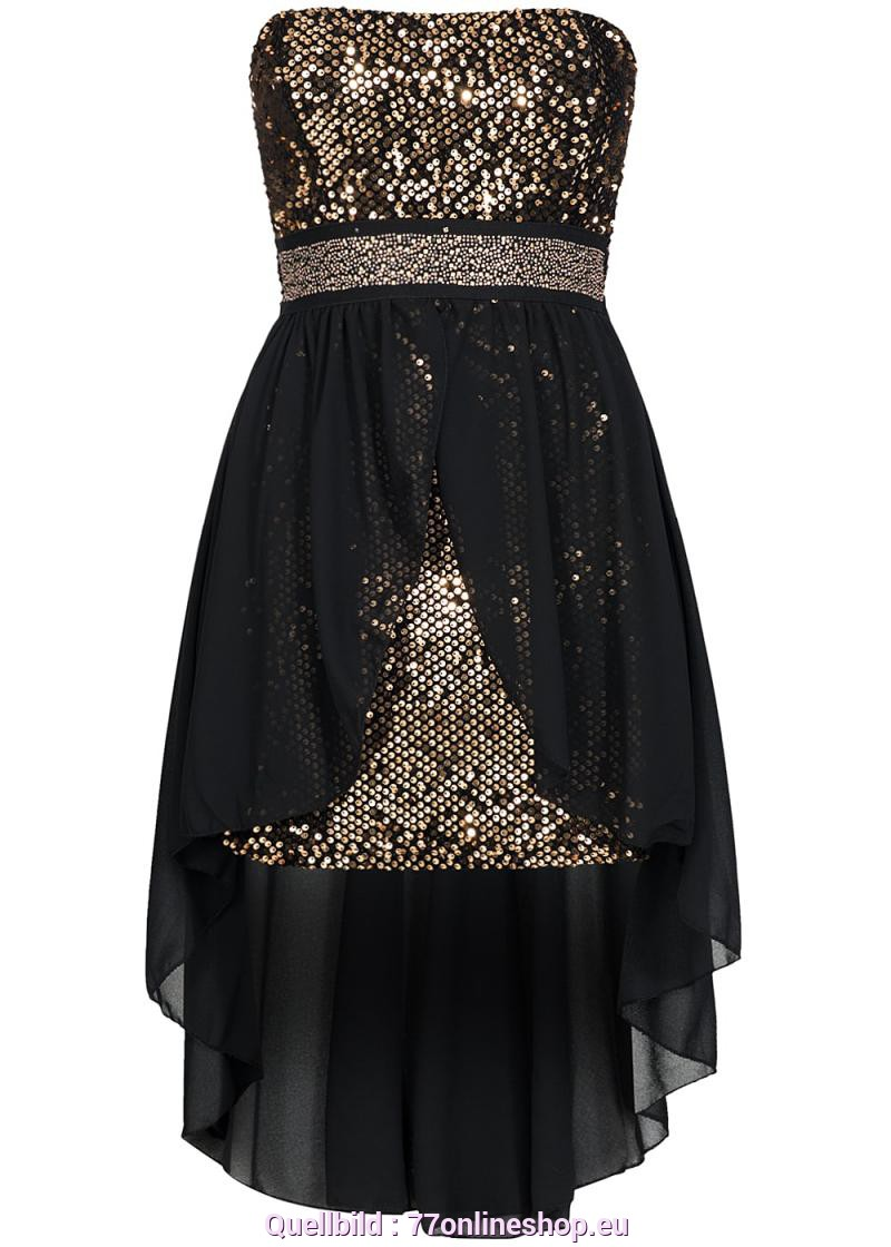 Interessant Kleid In Schwarz Gold Styleboom Fashion Damen Bandeau Party Kleid Vokuhila Pailletten
