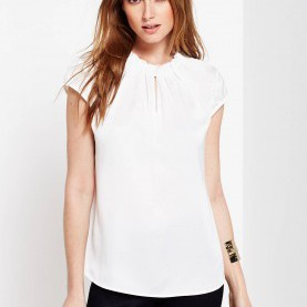 Am Leben Comma Satin Top Comma Ruffle Trim Satin Top, White | McElhinneys