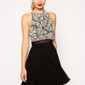 Einzigartig Skaterkleid Mit Verziertem Kurzem Oberteil ASOS All Over Embellished Crop Top Skater Dress | Fashion | Pinterest
