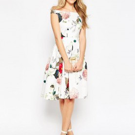 Interessant Asos Kleid Kurz Schwarz ASOS Off The Shoulder Midi Prom Dress In Botanical Floral | Wear