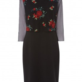 Interessant Kleid Comma Schwarz COMMA Kleid Im Rock-Top-Look Mit Rosen-Stickereien In Grau