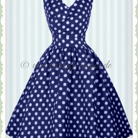 Klug Kleid Blau Gepunktet & Dotty 50Er Jahre Rockabilly Punkte Petticoat Kleid - May - Blau