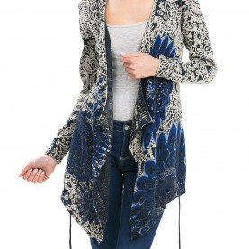 Luxuriös Desigual Strickjacke Blau Desigual Women'S Long Cardigan With Loose Fit, Marino, Small