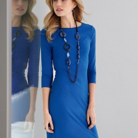 Luxuriös Kleider In Royalblau Peter Hahn-Jersey-Kleid Mit 3/4-Arm-Royalblau