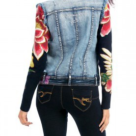 Natürlich Desigual Jacke Easy Desigual Women'S Woven Jacket With Patchwork Design, Denim Medium