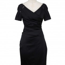 Perfekt Talbot Runhof Outlet Shop Talbot Runhof - Black Satin Portrait Neckline Short Sleeve Dress