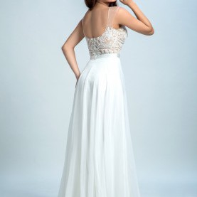 Prämie Ballkleid Weiß Lang Glamorous A-Line Scoop Floor-Length Chiffon Backless Long White