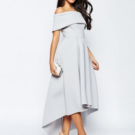 Quoet Lange Abendkleider Asos Off The Shoulder Bardot Scuba Dip Back Maxi Dress | Bardot, Scubas
