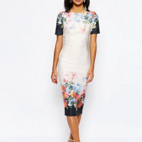 Regulär T Shirt Kleid Midi Image 1 Of ASOS Border Print T-Shirt Midi Dress | Spring/Summer
