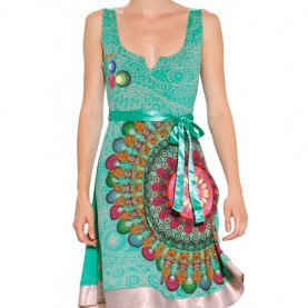 Schrullig Desigual Kleid Galactic Desigual Galactic Dress Verde Free M - Born2Style Fashion Store