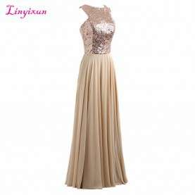 Sinnvoll Hochzeitsgast Kleid Lang Linyixun Real Photo Sparkly Pailletten Perlen Chiffon Brautjungfer