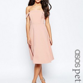 Bezaubernd Asos Kurze Kleider ASOS PETITE Midi Dress With Tab Shoulder And Full Skirt | Real