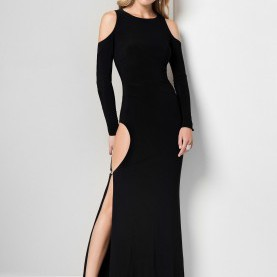 Fabelhaft Langärmelige Lange Kleider Cold Shoulder Long Dress
