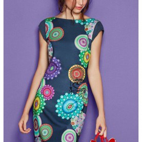 Friedlich Desigual Trägerkleid Suzanne Desigual Short Pinafore Dress With A Colorful Pattern. Discover