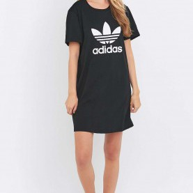 Quoet Baseball Shirt Kleid Adidas Originals Black Trefoil T-Shirt Dress - Urban Outfitters